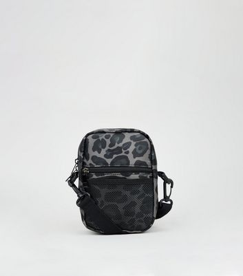 Grey Nylon Leopard Print Cross Body Bag