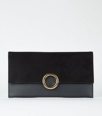 Black Leather-Look Ring Front Clutch