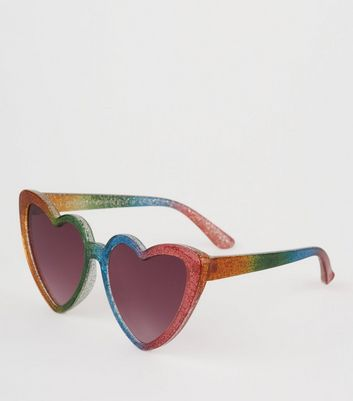 Girls Multicoloured Heart Frame Glitter Sunglasses