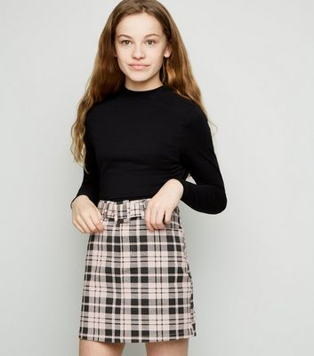 Girls Pink Check Belted Denim Skirt