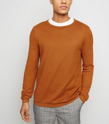 Rust Crew Neck Textured Knit Jumper