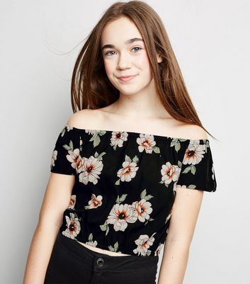 Girls Black Floral Bardot Top