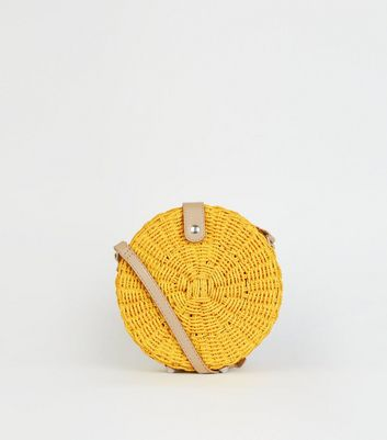 Yellow Straw Effect Woven Round Bag