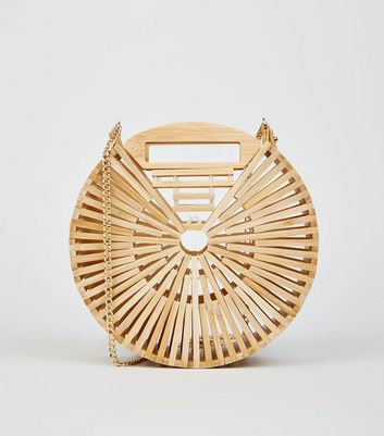Stone Slatted Bamboo Round Shoulder Bag