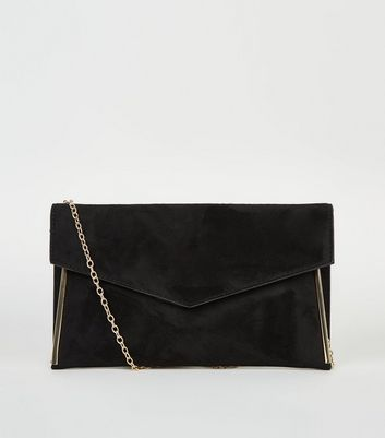 Black Suedette Metal Trim Asymmetric Clutch