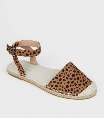 Brown Animal Print Ankle Strap Espadrilles
