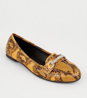 Yellow Faux Snake Bar Front Loafers