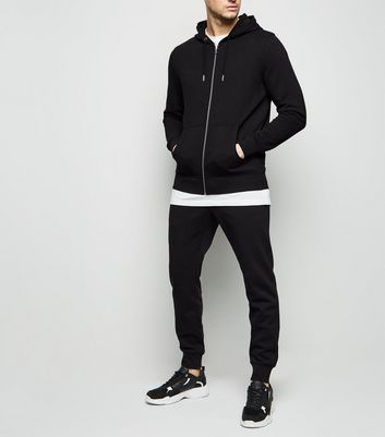 Black Zip Up Hoodie and Joggers Tracksuit