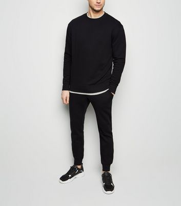 Black Sweatshirt and Joggers Tracksuit