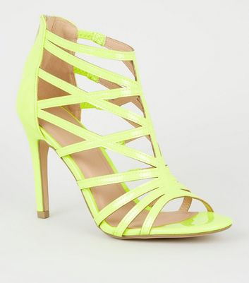 Yellow Neon Patent Caged High Vamp Stiletto Heels