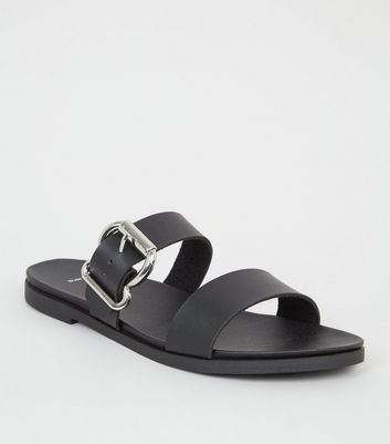 Wide Fit Black Leather-Look Footbed Sandals