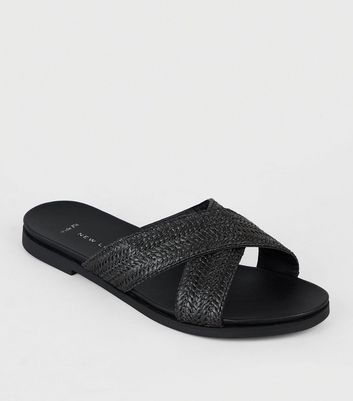 Wide Fit Black Straw Effect Footbed Sliders