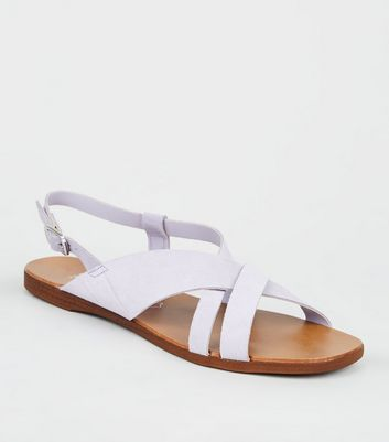Wide Fit Lilac Suede Strappy Flat Sandals