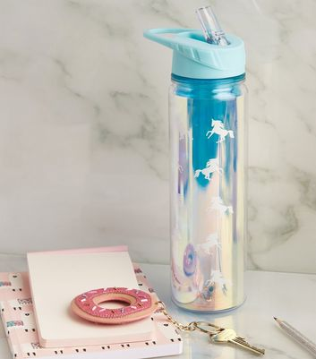 Pale Blue Unicorn Flip Straw 550ml Water Bottle
