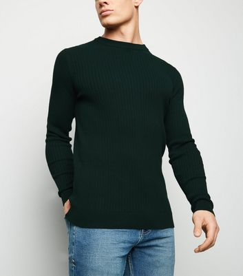 Green Ribbed Muscle Fit Crew Jumper