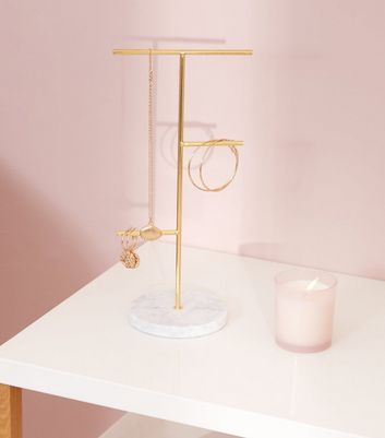 Gold Marble Effect Base Jewellery Stand