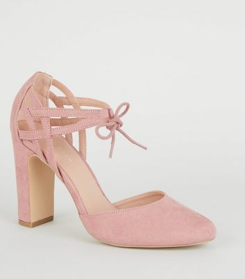 Pink Suedette Lattice Back Block Heels