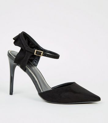 Black Suedette Pointed Frill Heel Court Shoes