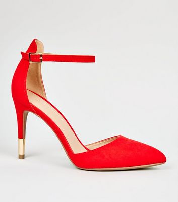 Red Suedette Ankle Strap Stiletto Courts