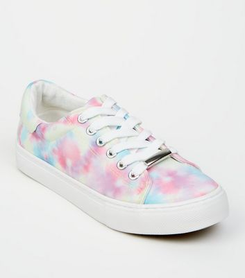 Girls Multicoloured Tie Dye Lace Up Trainers