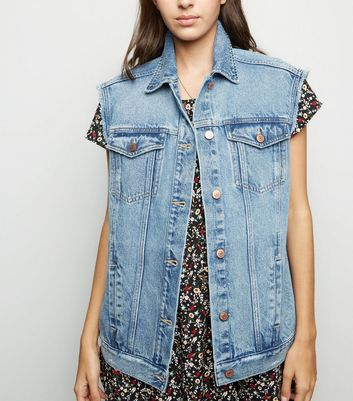 Blue Cut Off Fray Sleeve Denim Gilet