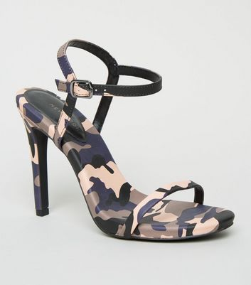 Pink Camo Print Stiletto Heel Sandals