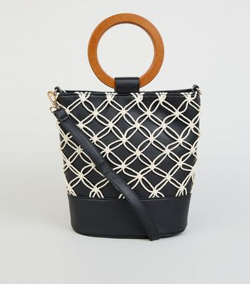 Black Leather-Look Macrame Bucket Bag