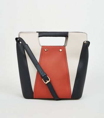 Orange Colour Block Bucket Bag