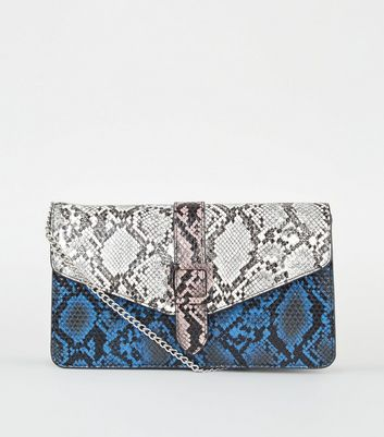Multicoloured Mixed Faux Snake Shoulder Bag