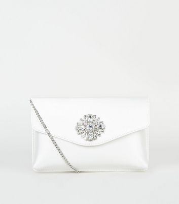 Off White Satin Diamanté Brooch Clutch