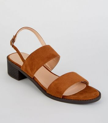 Girls Tan Suedette Low Block Heel Sandals