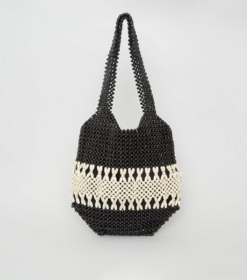 Black Beaded Shopper Bag