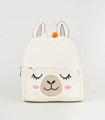 White Leather-Look Llama Backpack