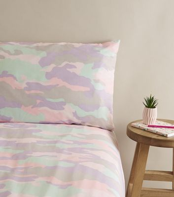 Lilac Camo Cotton Double Duvet Set