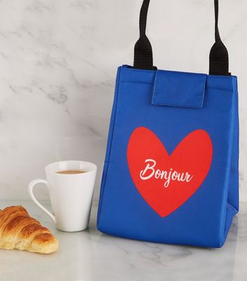 Blue Bonjour Heart Lunch Bag