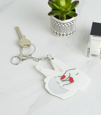Peace Hands Slide Out Mirror Keyring