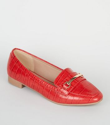 Wide Fit Red Faux Croc Loafers