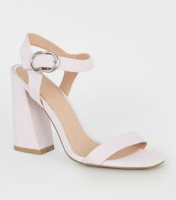 Lilac Suedette Dual Circle Buckle Flared Heels