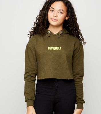 Girls Khaki Obviously Neon Slogan Hoodie