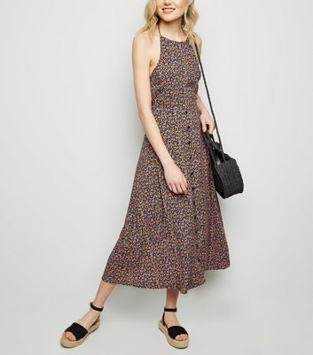 Black Floral Halterneck Midi Dress
