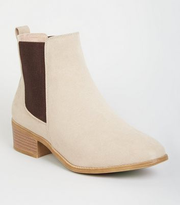 Wide Fit Camel Suedette Chelsea Boots