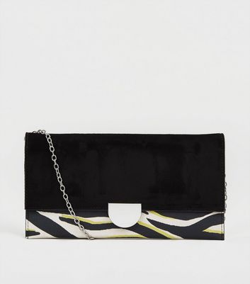 Black Neon Zebra Print Clutch Bag