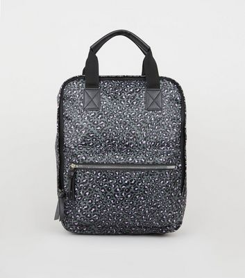 Grey Leopard Print Square Backpack
