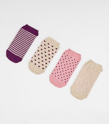 4 Pack Nude Heart and Spot Ankle Socks