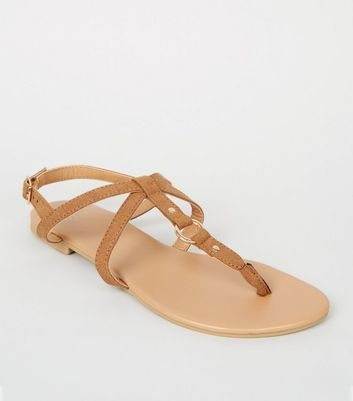 Girls Tan Ring Cross Strap Sandals