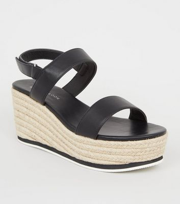 Wide Fit Black Leather-Look Espadrille Sandals