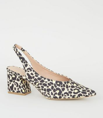 Yellow Suedette Leopard Print Pointed Slingbacks