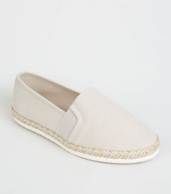 Wide Fit Grey Canvas Glitter Sole Espadrilles