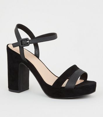 Wide Fit Black Faux Snake Strap Platform Heels