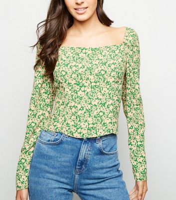 Green Ditsy Floral Square Neck Top